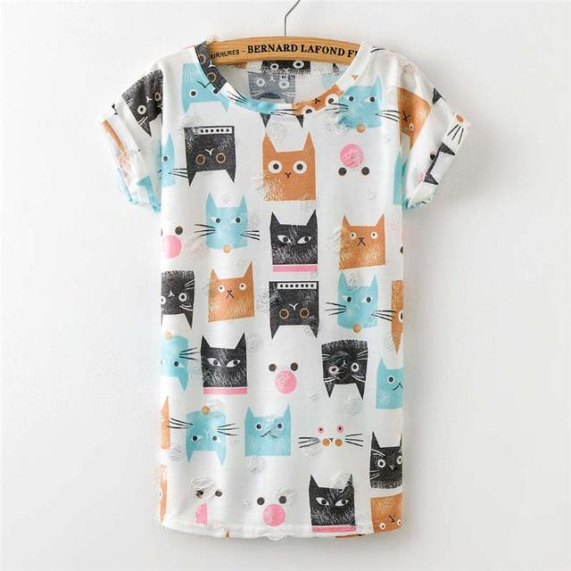 Cat Printed Casual Tshirts