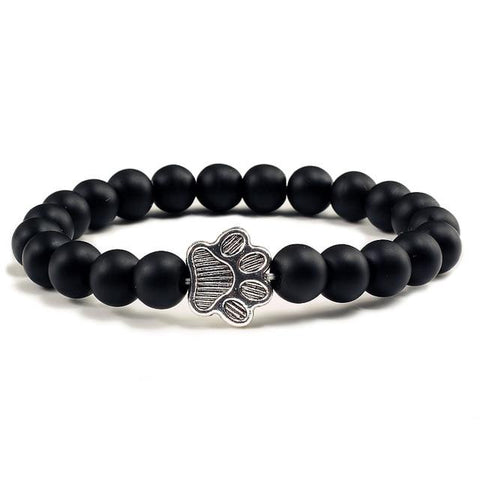 Natural Volcanic Stone Paw Charm Bracelet