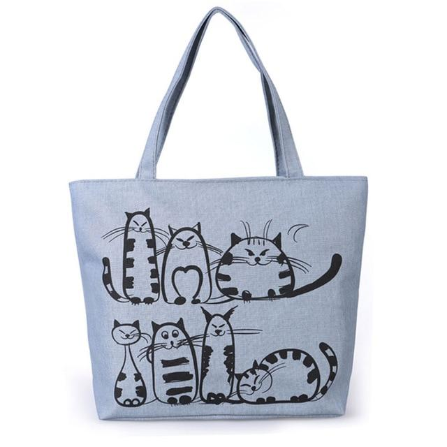 Cat Cartoon Canvas Handbag