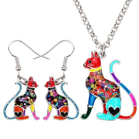 Sitting Cat Earrings & Necklace Set