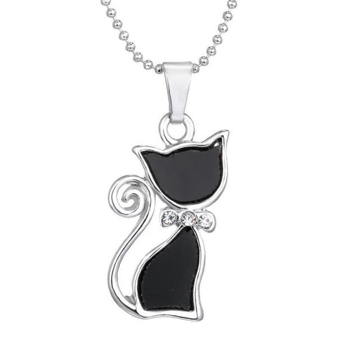 Silver Plated Cat Pendants Necklace