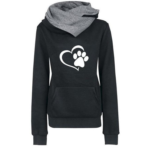 Women's Turtleneck Cat Paw Hoodie | NineLivesCats