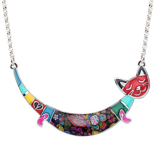 Colorful Smile Cat Necklace
