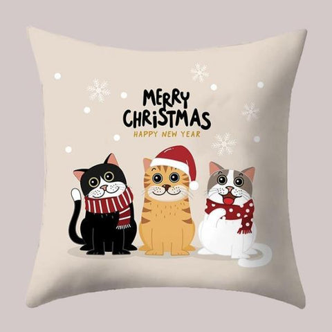 Meowrry Christmas Pillow Case