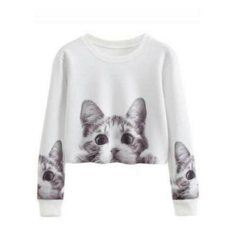Short Cropped Cat Sweatshirt | NineLivesCats