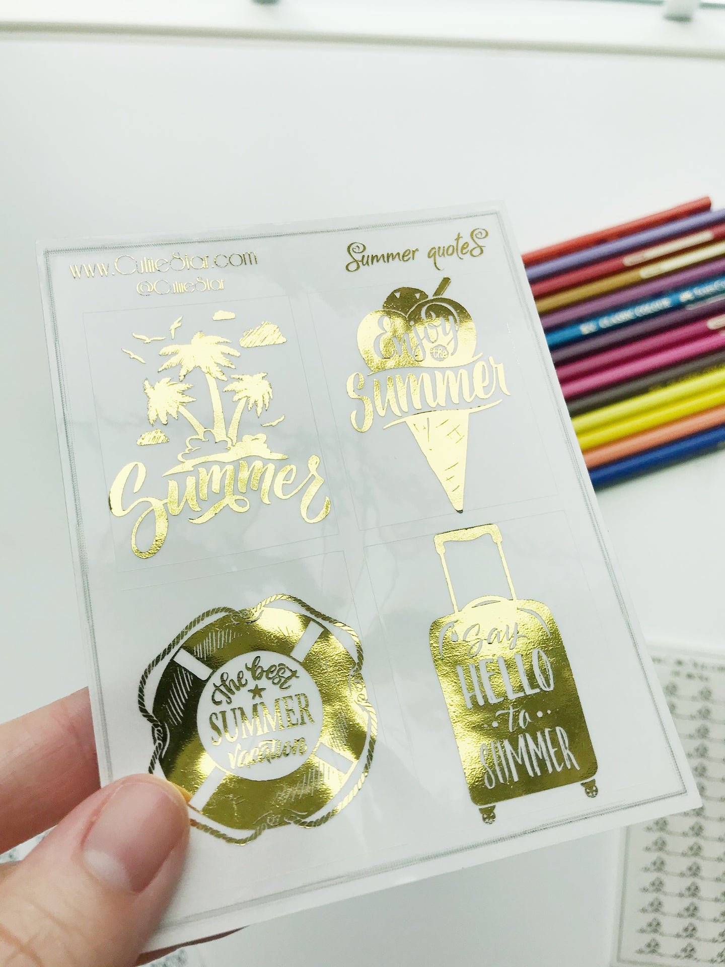 FOIL Stickers - Summer Full Boxes Gold Foil