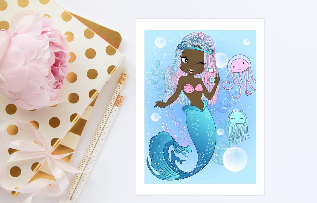 MERMAID Print Illustration Card 5x7