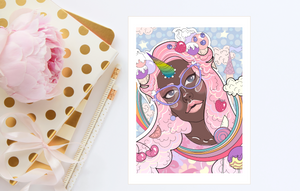 KAWAII UNICORN GIRL Print Illustration Card 5x7