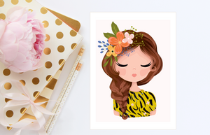 ANIMAL PRINT GIRL Print Illustration Card 5x7