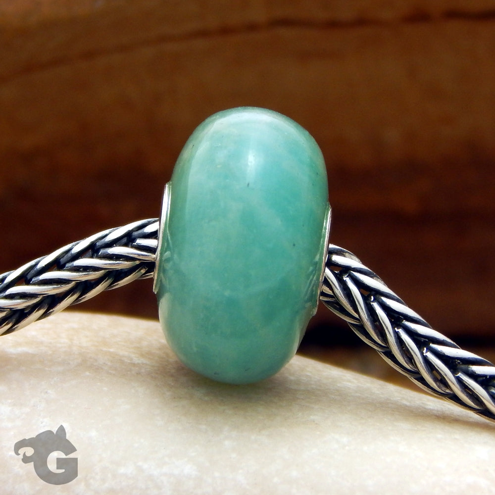 Amazonite gemstone jewelry bead smooth small core fits Trollbeads Tedora small core bracelets necklaces Stone of Courage - Glermes.com