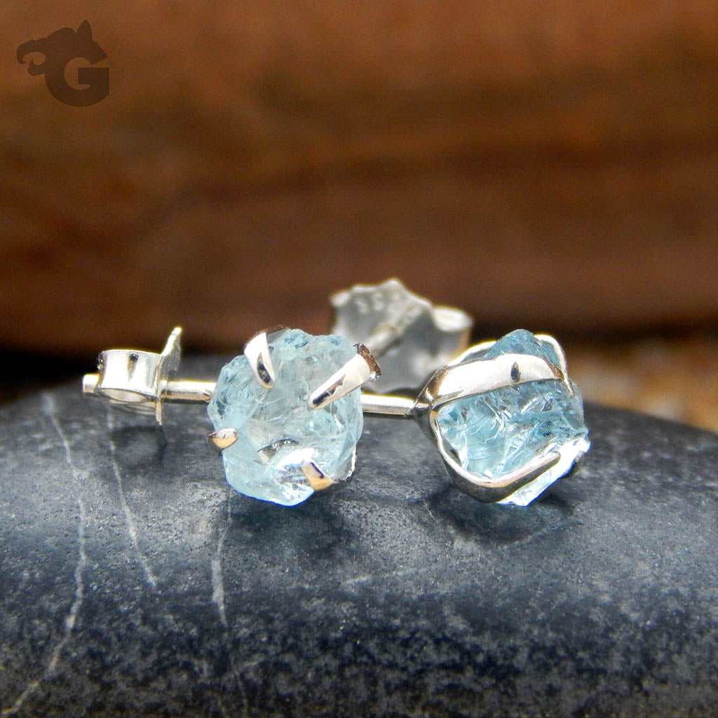Natural Aquamarine earring studs