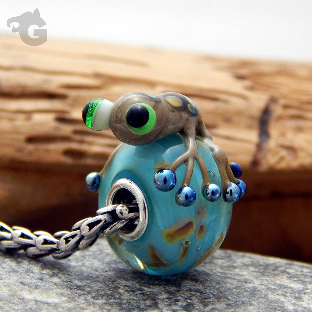 Blue Dream on Sky Frog glass bead