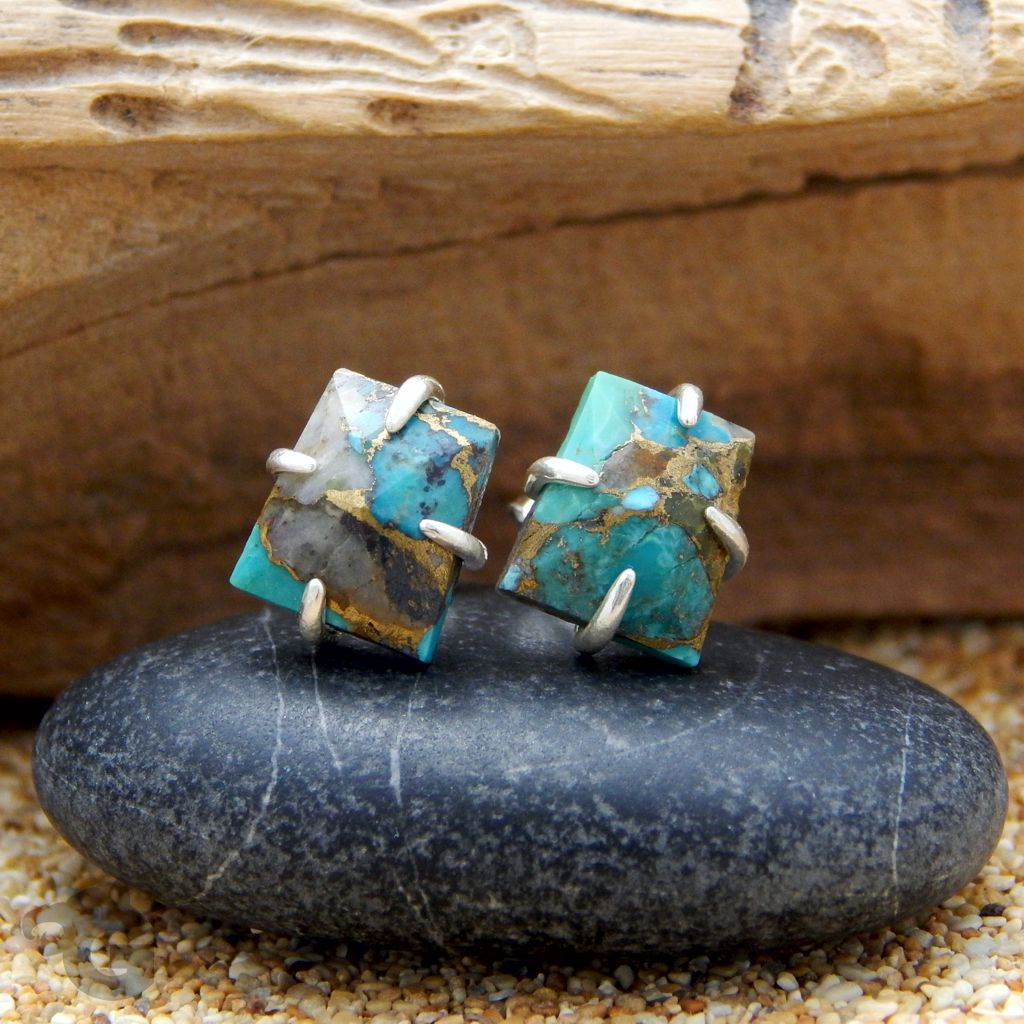 blue copper turquoise earrings stud 4 prong settings glermes 925 sterling silver