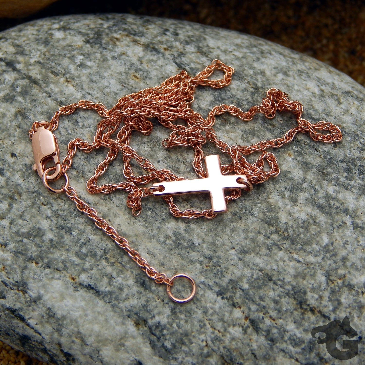 Cross necklace 925 Sterling silver 18 K rose gold plated 17 inches rope chain - Glermes.com