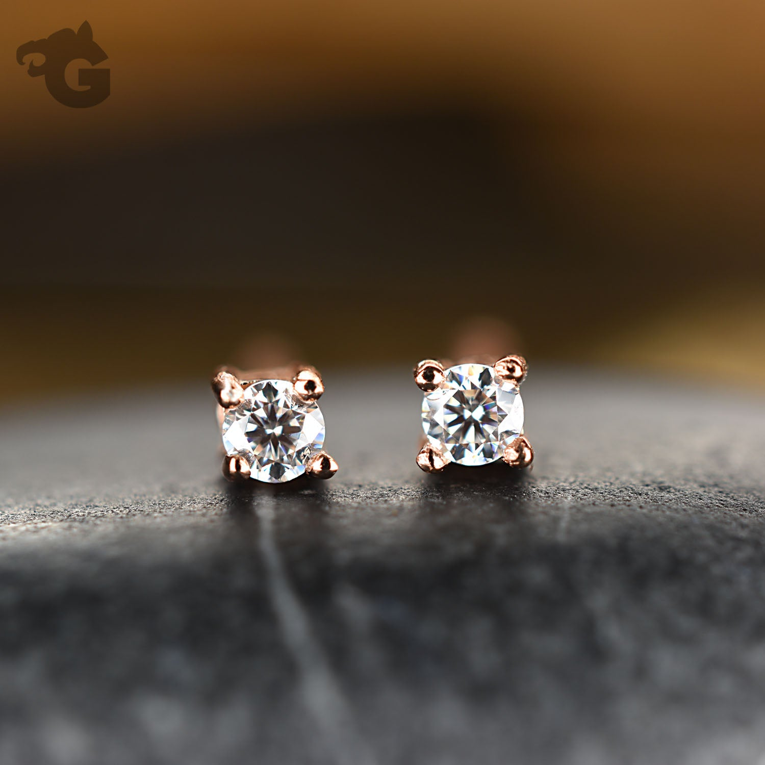 Tiny stud earrings colorless Moissanite D diamond 18K rose gold overlay - Glermes.com
