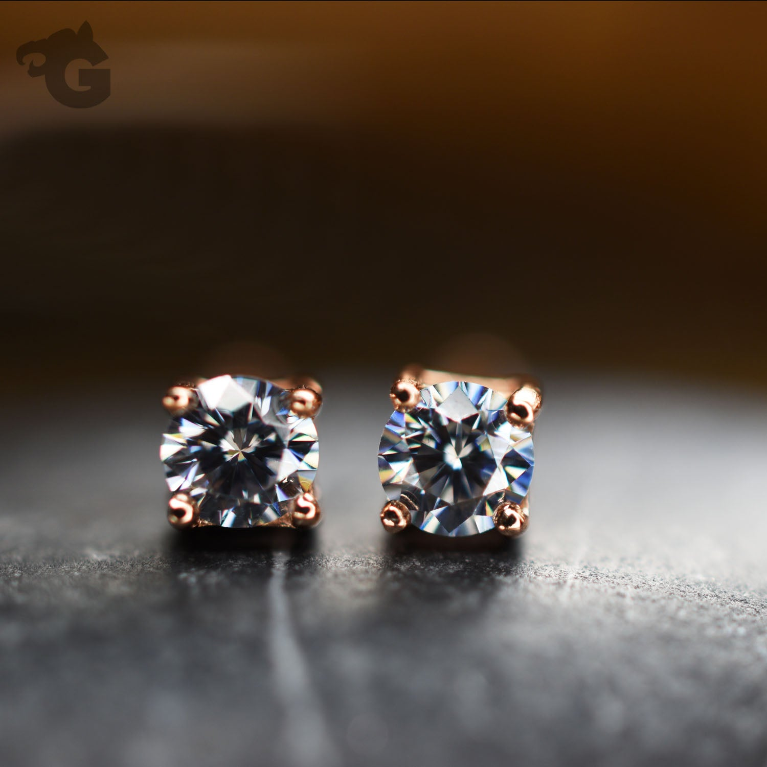 Moissanite diamond jewelry gray earring studs 3 mm 18K rose gold overlay - Glermes.com