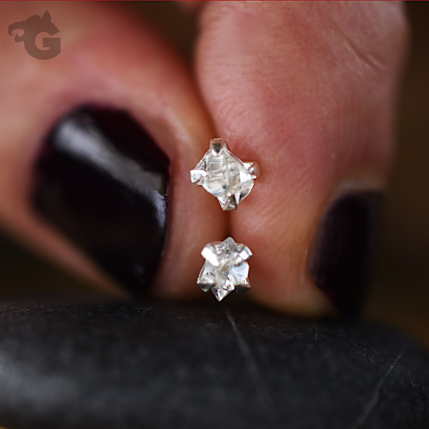 Herkimer Diamond stud earrings clear superb quality single or a pair to choose from - Glermes.com