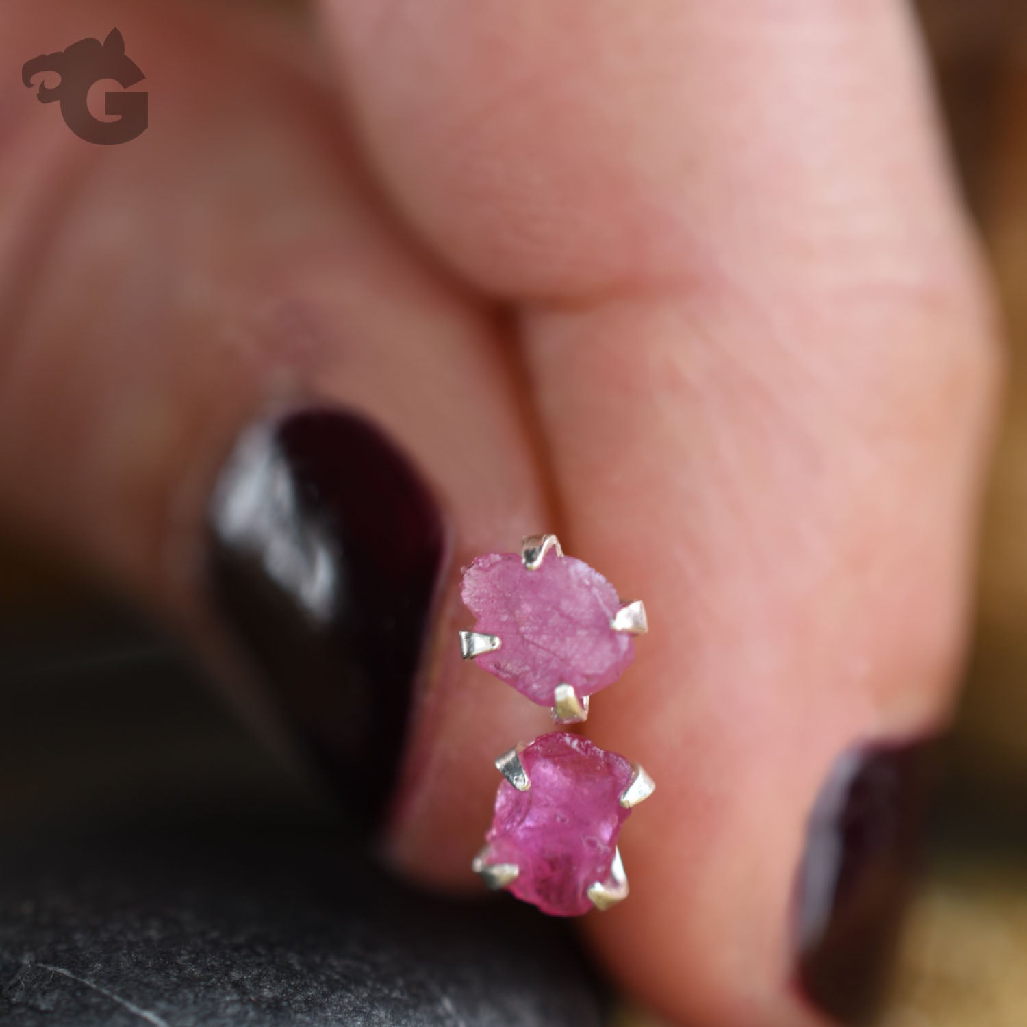 Natural rough Ruby earring studs