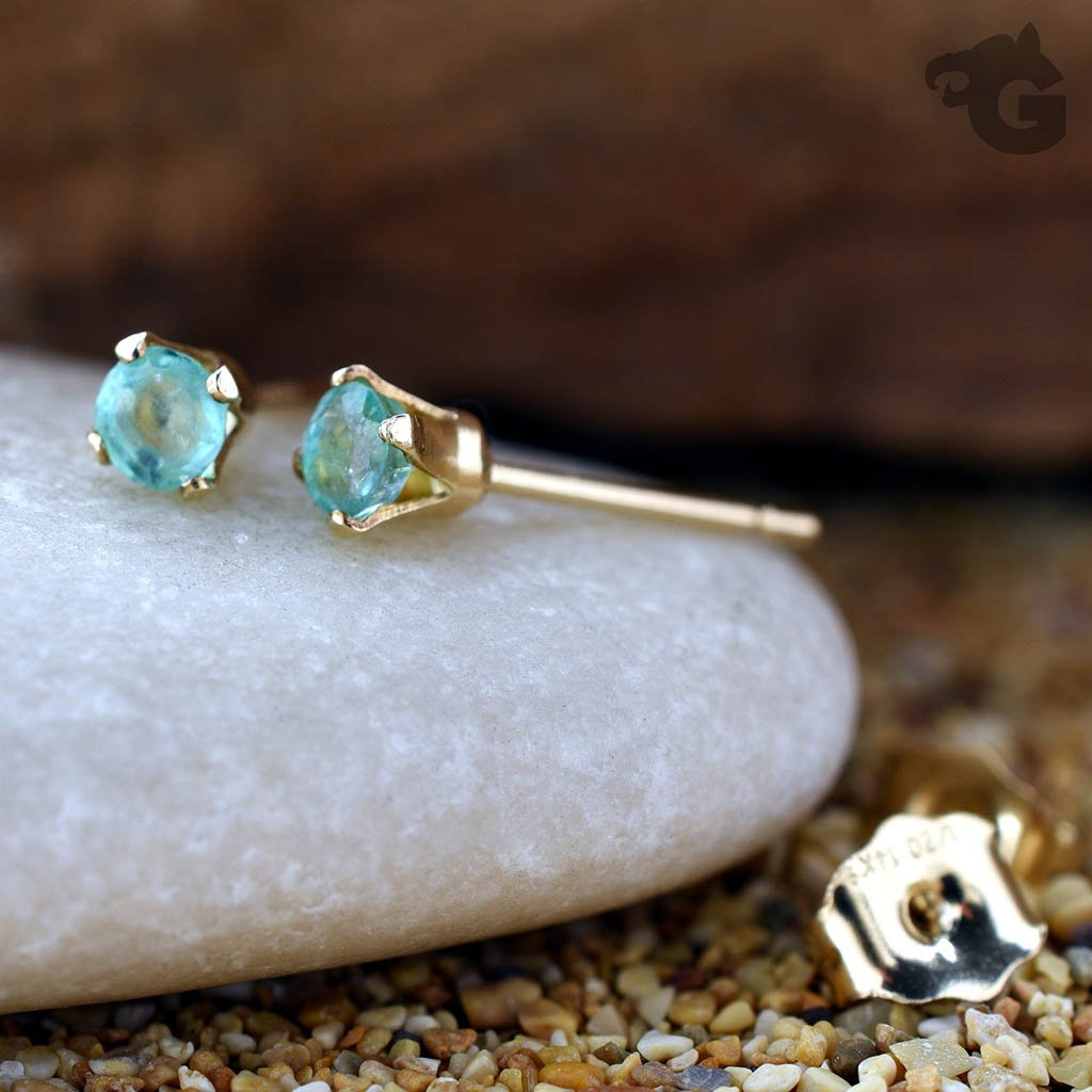 Emerald earring studs 14K Gold Filled