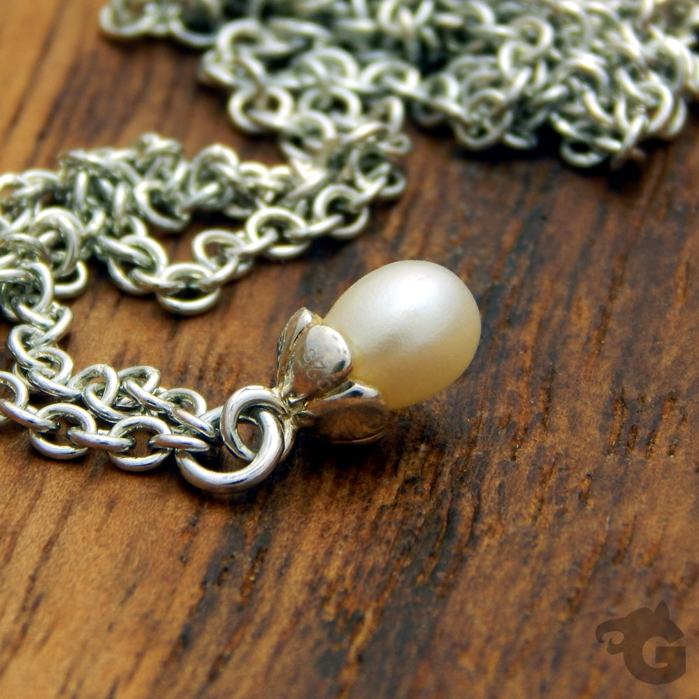 Lockless chain pearl necklace natural freshwater pearl white gift for woman - Glermes