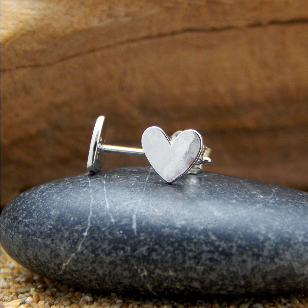 heart stud earrings silver small 925 sterling silver platinum plated glermes.com