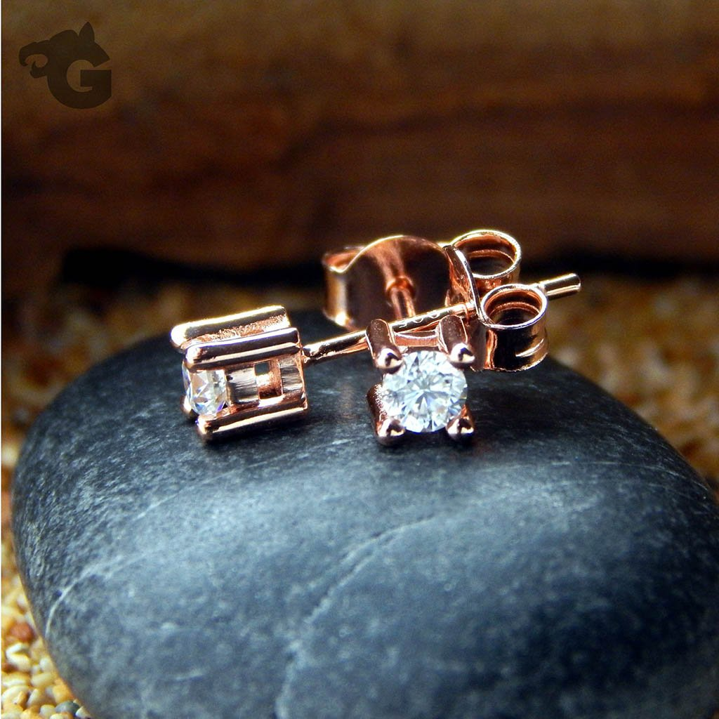 White Moissanite 3mm rose gold studs