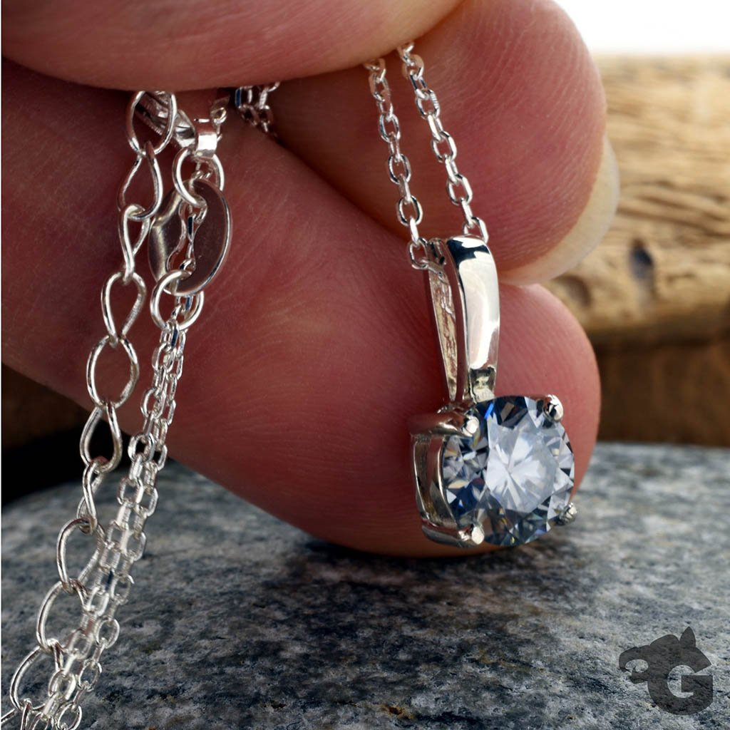 Gray Moissanite 4mm necklace