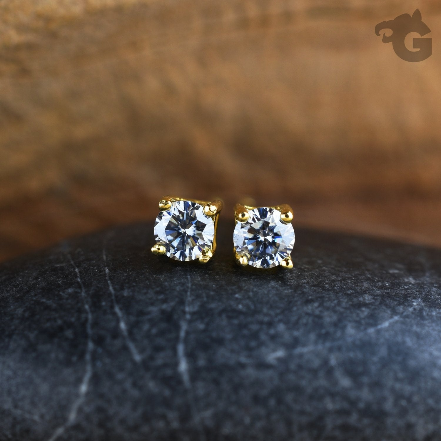Moissanite stud earrings yellow gold grey 3mm - Glermes.com
