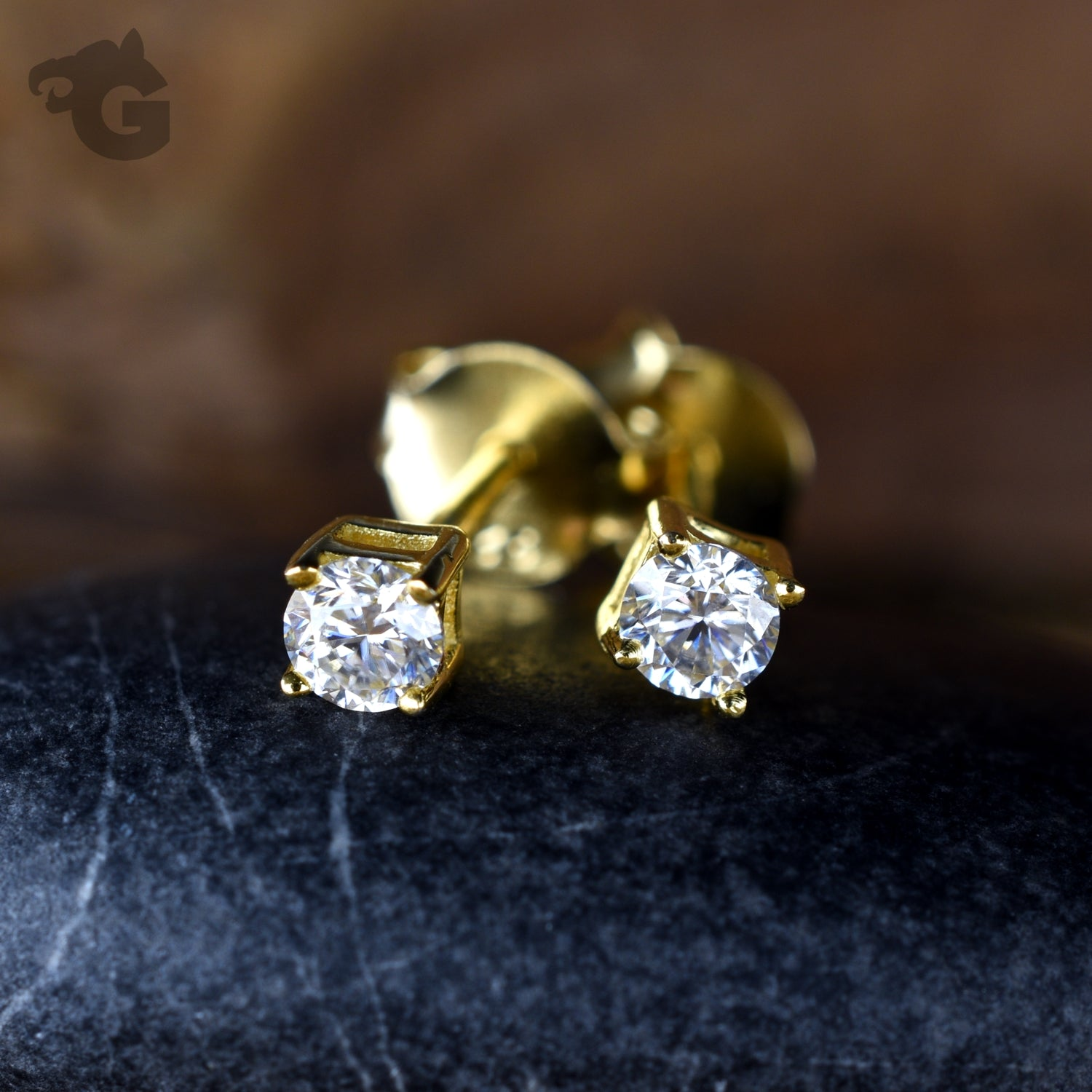 Moissanite stud earrings yellow gold 18K white colorless 3mm - Glermes.com