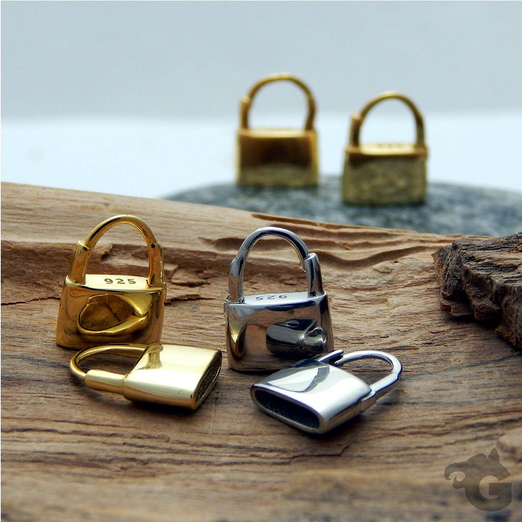 Padlock Huggie Hoop earrings