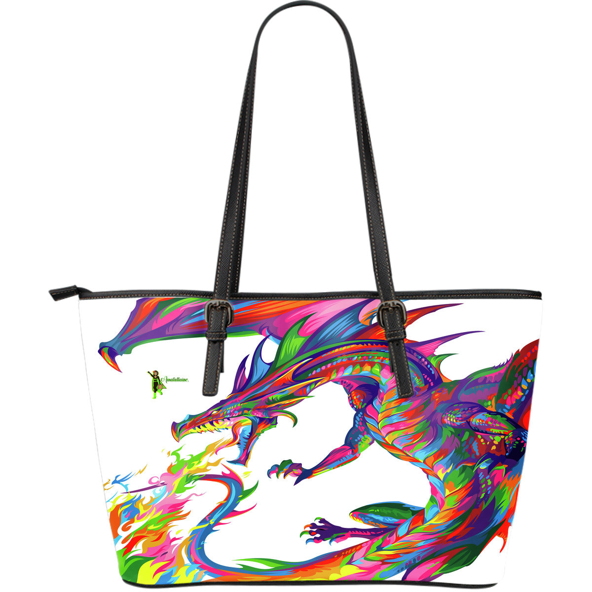 Amatullainc. Fantasy Dragon Leather Tote Bags are custom-made-to-order and handcrafted to the highest quality standards. This beautiful bag features a Double-Sided Print. Manufactured with premium water-resistant PU leather.