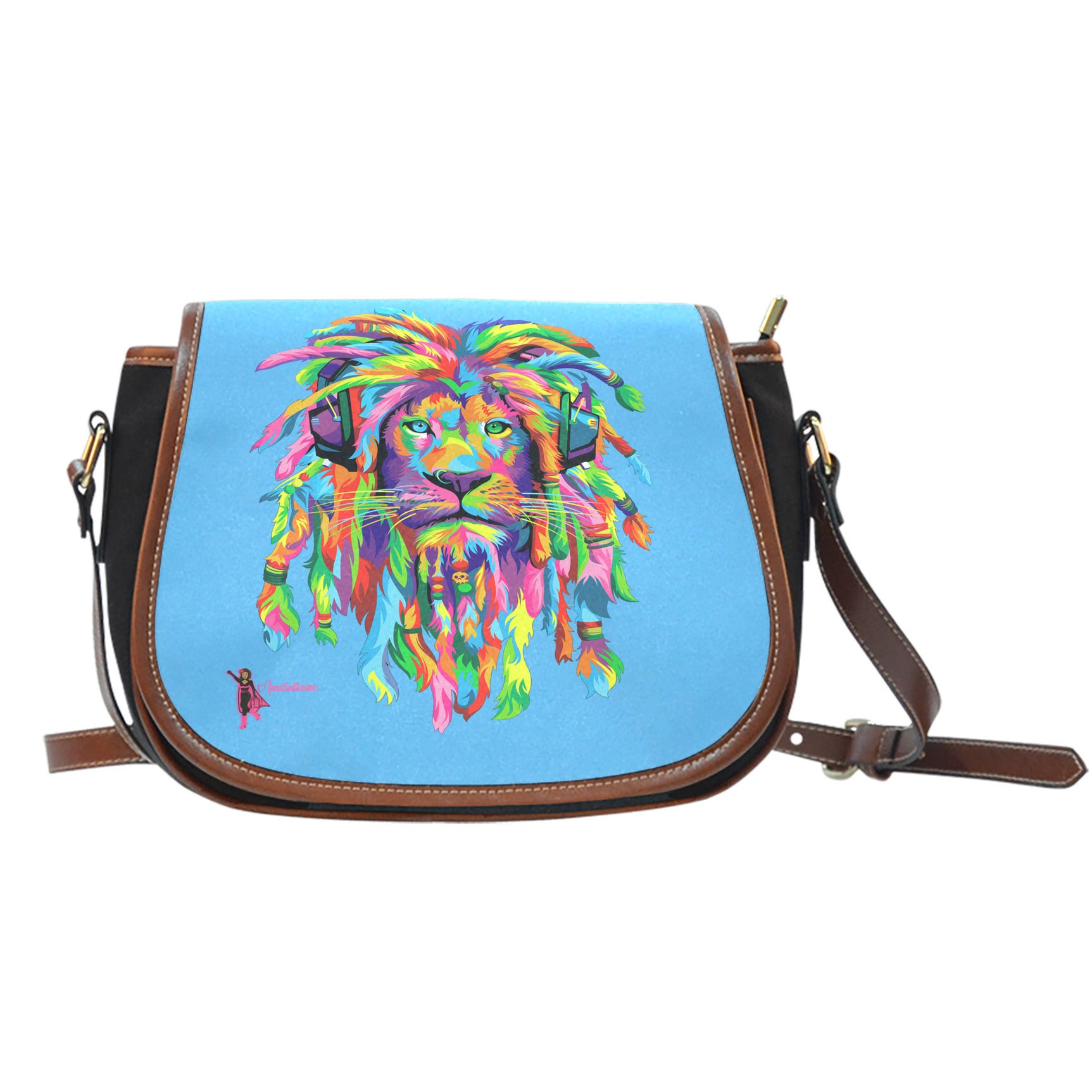 Amatullainc. Lion Rasta Saddle Bags are custom-made-to-order and handcrafted to the highest quality standards. Features One-Sided Print, manufactured with premium water-proof canvas material.