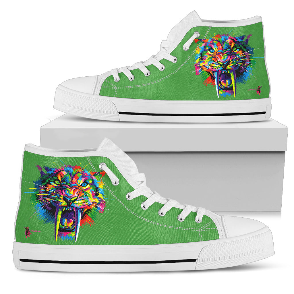 Amatullainc. Sabertooth Women's High-Top Shoes are custom-made-to-order and handcrafted to the highest quality standards. Full canvas double-sided print with rounded toe construction. Lace-up closure for a snug fit. Soft textile lining with lightweight construction for maximum comfort.