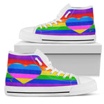 Amatullainc. Rainbow Love Women's High-Top Shoes are custom-made-to-order and handcrafted to the highest quality standards. Full canvas double-sided print with rounded toe construction. Lace-up closure for a snug fit. Soft textile lining with lightweight construction for maximum comfort. High-quality EVA out-sole for traction and exceptional durability.