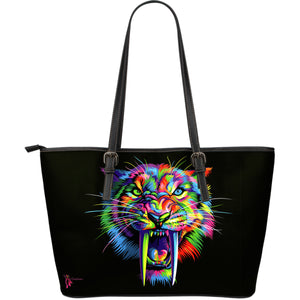 Amatullainc. Sabertooth Leather Tote Bags are custom-made-to-order and handcrafted to the highest quality standards. This beautiful bag features a Double-Sided Print. Manufactured with premium water-resistant PU leather.