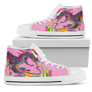 Amatullainc. Fantasy Dragon Women's High-Top Shoes are custom-made-to-order and handcrafted to the highest quality standards. Full canvas double-sided print with rounded toe construction. Lace-up closure for a snug fit. Soft textile lining with lightweight construction for maximum comfort.