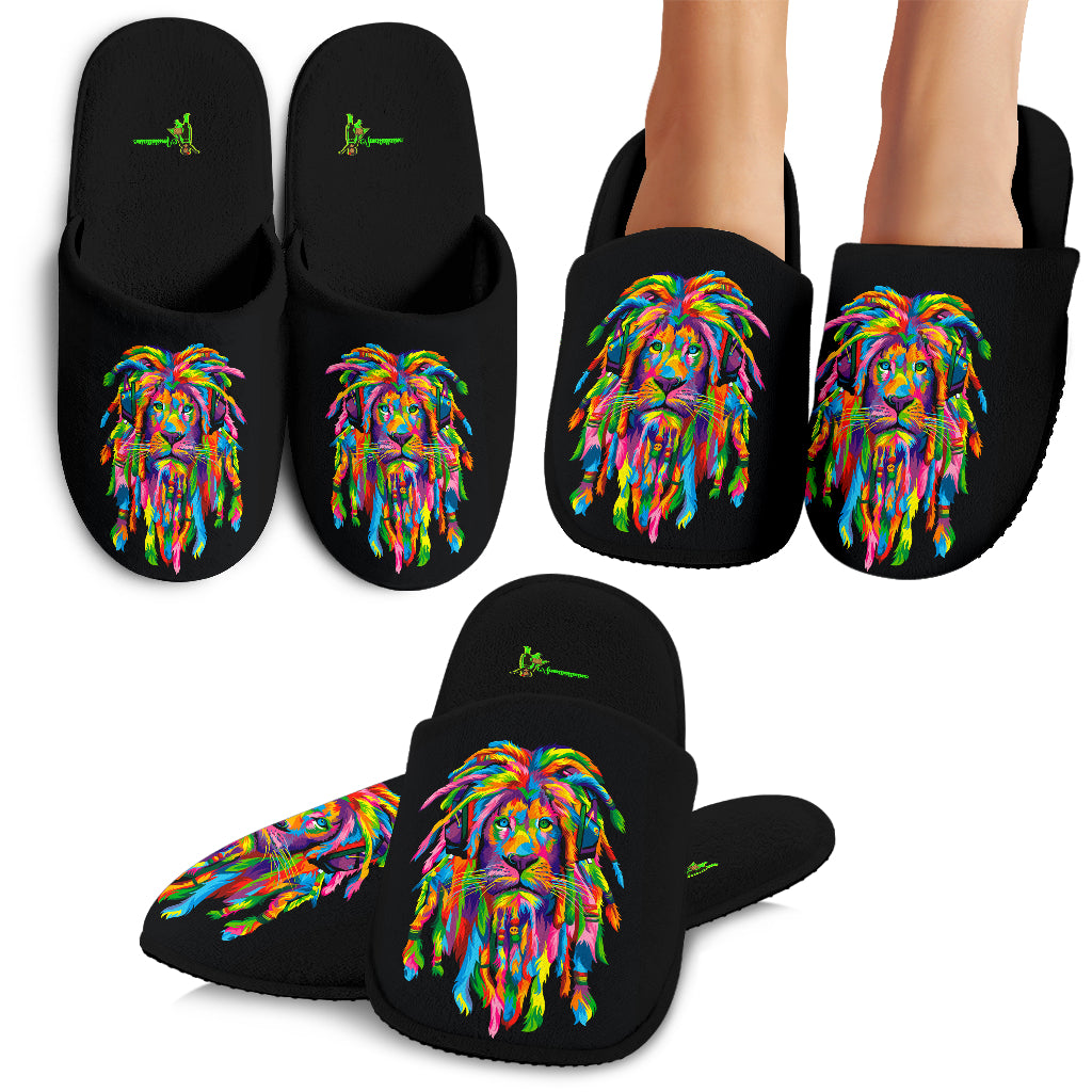Amatullainc. Lion Rasta Slippers are custom-made-to-order and handcrafted to the highest quality standards. Keep your feet cozy and stylish with these custom printed slippers, perfect for every member of the family!  It is constructed from a super soft polyester suede fabric for maximum color vibrancy and exceptional durability. Features a cozy inner lining made from 80% cotton 20% polyester to keep your feet warm and comfortable.