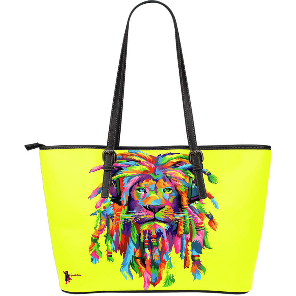 Amatullainc. Lion Rasta Leather Tote Bags are custom-made-to-order and handcrafted to the highest quality standards. This beautiful bag features a Double-Sided Print. Manufactured with premium water-resistant PU leather. Features comfortable and sturdy carrying straps with high-quality stitching for long-lasting.