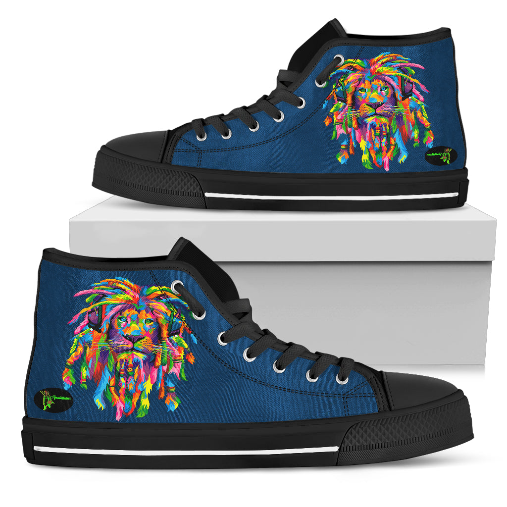 Amatullainc. Lion Rasta Men's High Top Shoes are custom-made-to-order and handcrafted to the highest quality standards. Full canvas double-sided print with rounded toe construction. Lace-up closure for a snug fit. Soft textile lining with lightweight construction for maximum comfort.
