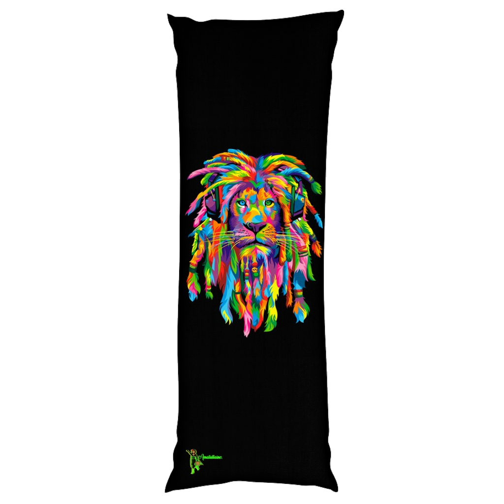 Amatullainc. Lion Rasta Body Pillows 100% Microfiber, 100% Polyester. Production time 3-4 business days while your order is hand-crafted, boxed packaged and shipped from our facility. PRODUCT DETAILS: Body Pillow 20 x 54 INCH