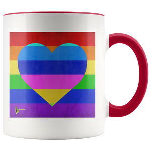 Amatullainc. Rainbow Love Mug is a high-quality 11oz. Ceramic white accent mug has a premium hard coat that provides crisp and vibrant color reproduction sure to last for years. Perfect for all hot & cold beverages which have a High Gloss + Premium White Finish with ORCA Coating Dishwasher and Microwave Safe.  Production time 5-7 business days while your order is hand-crafted, boxed packaged and shipped from our facility.