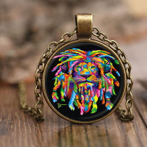 Amatullainc. Lion Rasta Antique Necklaces are adjustable size chain necklaces made with nickel free zinc and metal alloy. Plated in antique bronze and topped with solid beveled glass. Great for a unique gift on a beautiful occasion.
