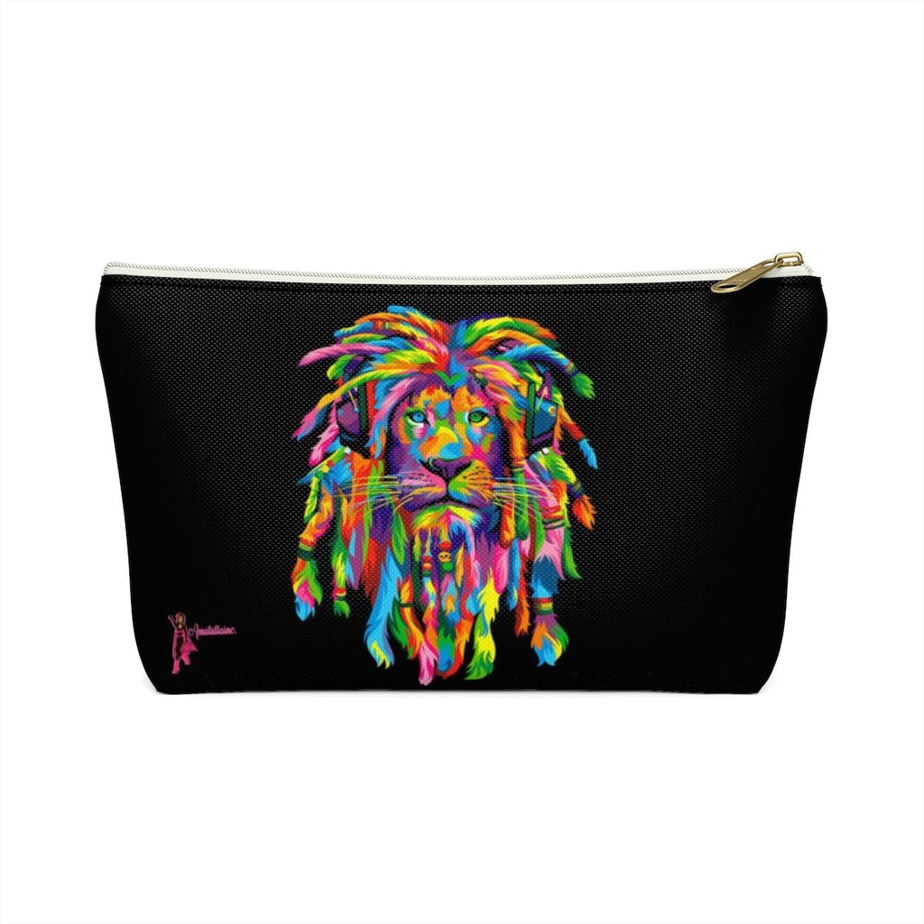 Lion Rasta Accessory Pouch W T-Bottom White / Small Bag Lovers