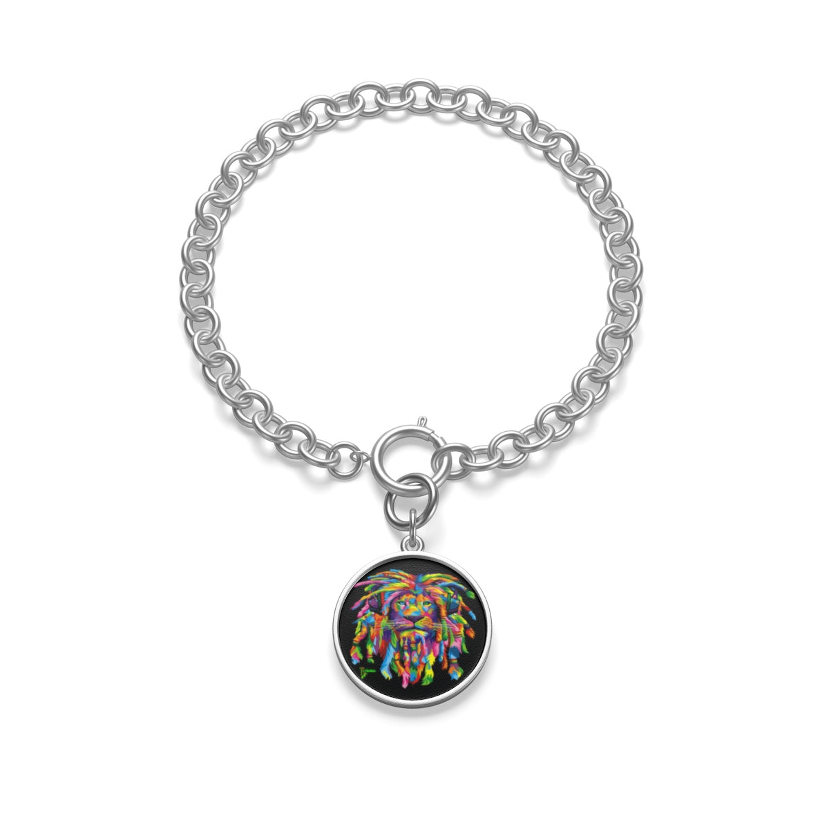 One Size Bracelet Diameter, in 2.55 Coin Pendant Diameter, in 0.66 Tile Pendant Diameter, in 0.66 This chunky chain bracelet emphasizes the delicate, vibrant and sensual personality of its wearer. Made in USA.