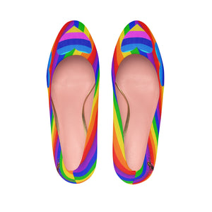 Amatullainc. Rainbow Love Platform Heel Shoes are custom-made-to-order and handcrafted to the highest quality standards. These platform heels offer a simple yet elegant style with a faux pigskin microfiber lining. The fit is soft and comfortable – perfect for the office, parties or special events.