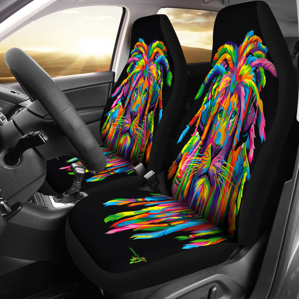 Amatullainc. Lion Rasta Car Seat Covers are custom-made-to-order and handcrafted to the highest quality standards. Constructed with high-quality polyester micro-fiber fabric for maximum durability and comfort. Add style to your seats while protecting them from spills, stains, tearing, fading and more.