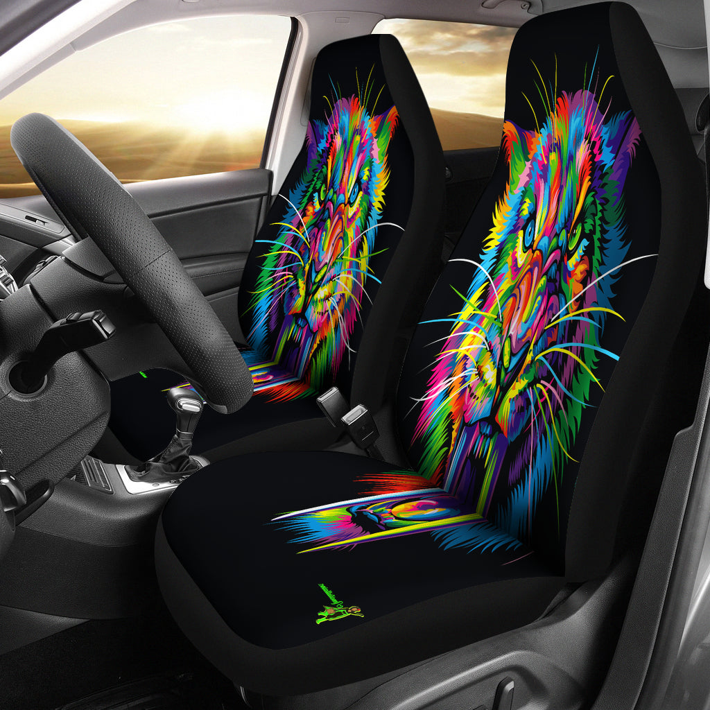 Amatullainc. Sabertooth Car Seat Covers are custom-made-to-order and handcrafted to the highest quality standards. Constructed with high-quality polyester micro-fiber fabric for maximum durability and comfort. Add style to your seats while protecting them from spills, stains, tearing, fading and more.