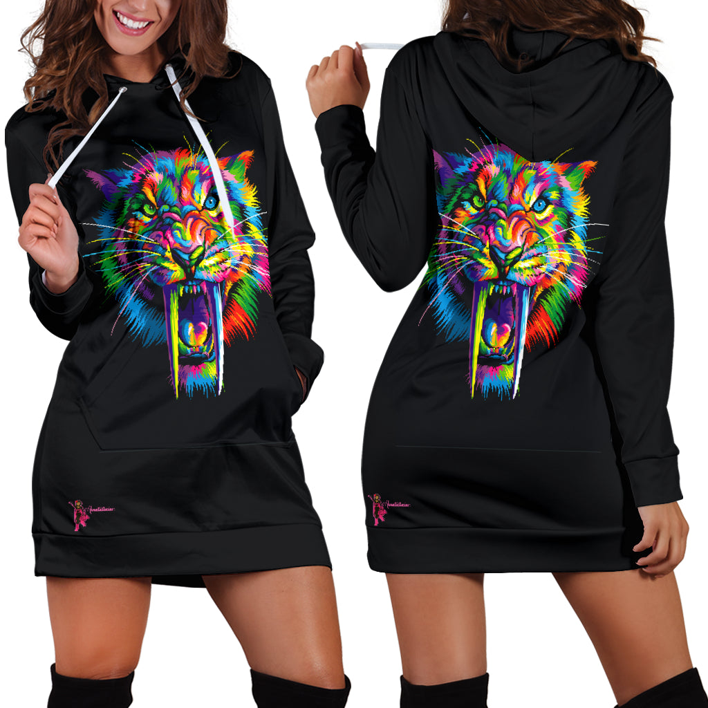 Amatullainc. Sabertooth Hoodie Dresses are custom-made-to-order and handcrafted to the highest quality standards. Each hoodie is constructed from a premium polyester blend that is ultra-soft and incredibly comfortable.