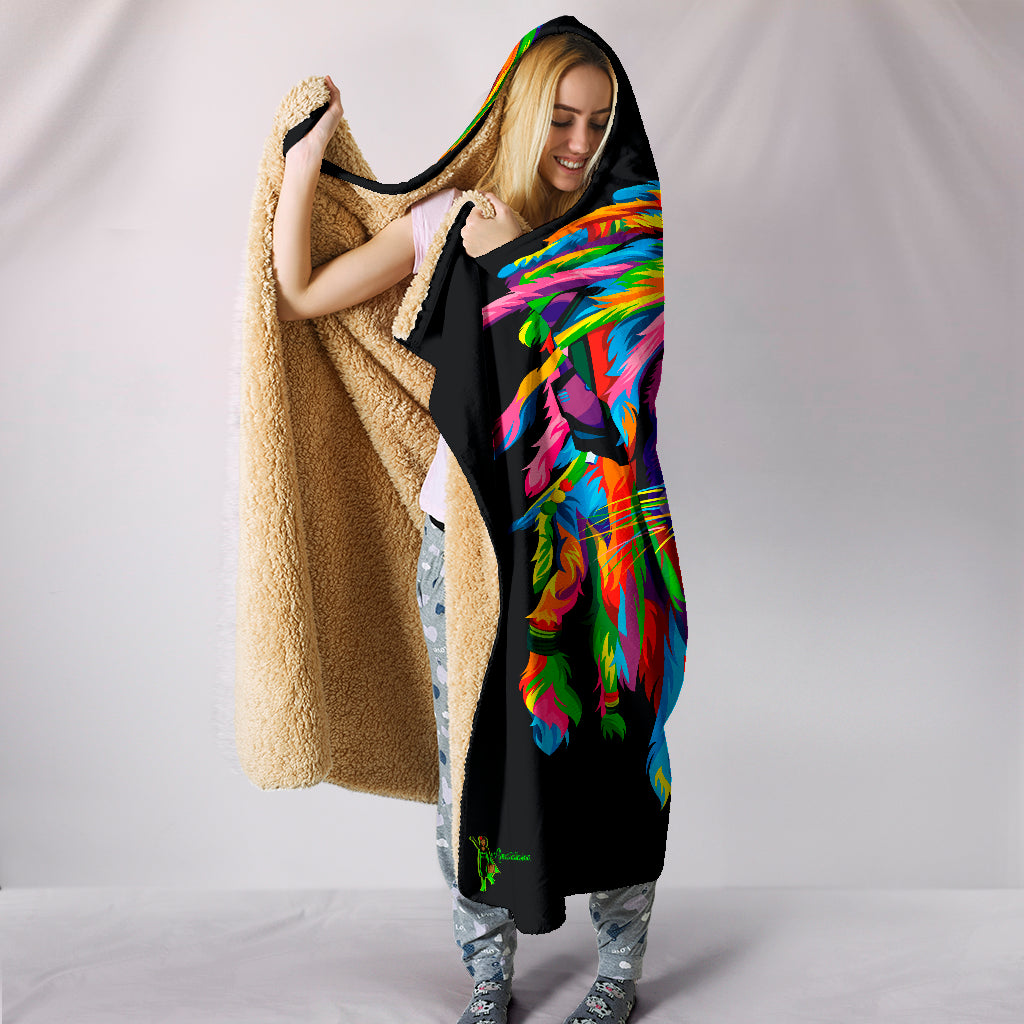 Amatullainc. Lion Rasta Hooded Blankets are custom-made-to-order and handcrafted to the highest quality standards. Premium suede polyester print for beautiful color vibrancy. Constructed with interior lining from an ultra-soft polyester wool-like fabric for warmth and comfort.