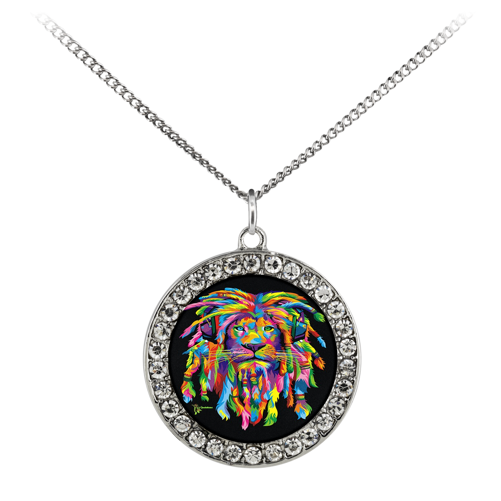 "Accessorize your outfit with this beautiful necklace featuring a UV printed coin charm. The charm is adorned with sparkling Czech crystals. The necklace is comprised of a sterling silver plated brass chain with an elegant matte finish. The cable style chain comes in either 16"" or 30"" length which is ideal for layering."